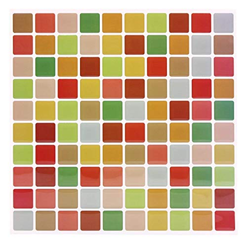 Pop Resin 9X9 inch Peel and Stick Tile Backsplash Colorful Mosaic Wall Tile for Kitchen Decoration (10) ()