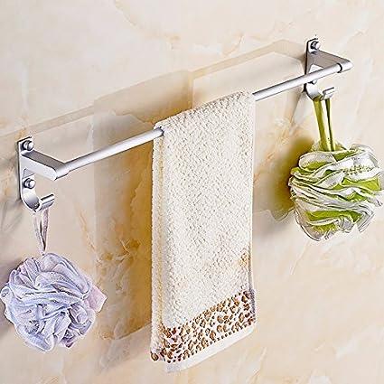lzzfw barra de toalla Toallero aluminio espacio wc baño toallas de baño colgador de metal bastidores