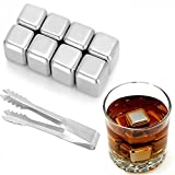 ELSKY Food Grade Stainless Steel Cooling Cubes, Deluxe Whiskey Stones, Reusable Ice Cubes Chilling Frozen Rocks for Wine, Beer,  Beverage Juice - Pack of 8 with Tip Tongs