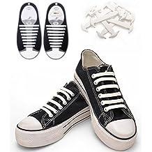Konsait No-Tie Silicone Elastic Shoe Laces for 16pcs/Adults(White)