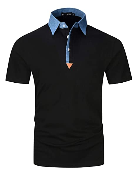 893e2552 STTLZMC Mens Casual Slim Fit Polo Short Sleeve Cotton T-Shirts,Black,Small