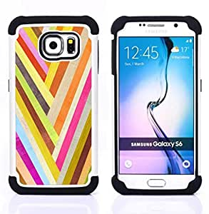 - gold happy colors pattern lines texture/ H??brido 3in1 Deluxe Impreso duro Soft Alto Impacto caja de la armadura Defender - SHIMIN CAO - For Samsung Galaxy S6 G9200