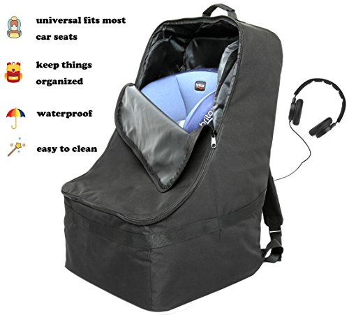 Foldable Padded Travel Car Seat Backpack Waterproof Travel Bag w/ Extra Shoulder Mesh Pockets