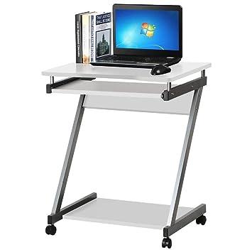 Huiseneu - Mesa de Escritorio compacta para Ordenador, pequeña, para PC, portátil, con Ruedas y cajón para Teclado: Amazon.es: Hogar