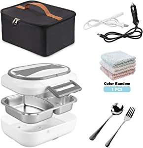Electric Heating Lunch Box, Portable Food Warmer Bento Box 2 in 1 Heated Lunch Box for Car Home Office 12V and 110V Dual Use with Insulated Lunch Bag Reusable Tote Bag