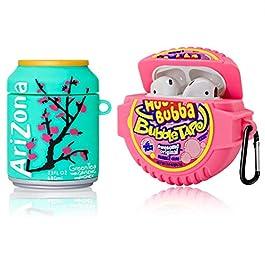 [2Pack] Cute Airpod Case for Airpod 2/1,3D Cartoon Kawaii Food Bubble Gum & Drink Airpods Cover Design Girl Boys Teens…