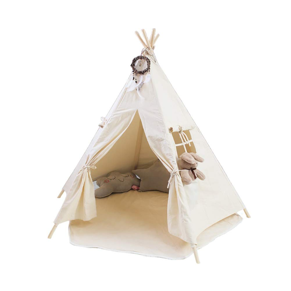 Play Tent Kids Teepee Children, Carry Case for Indoor Outdoor White Cotton Canvas 150CM Tall, Perfect Toys Gift for Toddlers Child