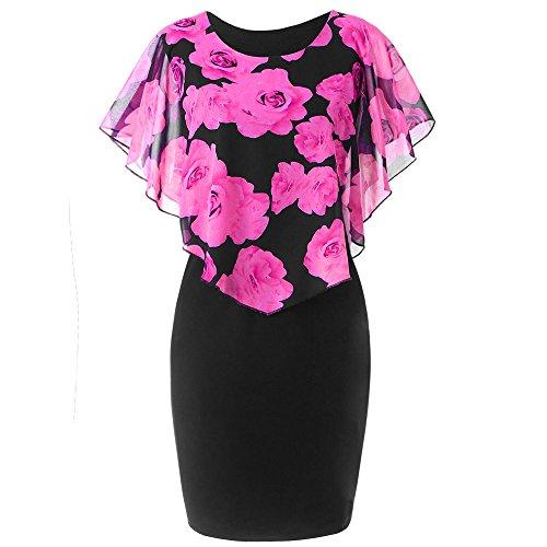 Dresses for Womens, FORUU Clover Ladies Sales 2019 Under 10 Best Gift for Girlfriend Fashion Casual Rose Print Chiffon O-Neck Ruffles Mini Dress ()