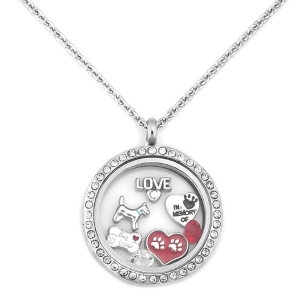 DemiJewelry Love Dog Paw Print Floating Charms Locket Necklace 18 Chain