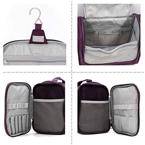 Extra Large Capacity Hanging Toiletry Bag for Men & Women, Portable Waterproof Bathroom Shower Bag, Lightweight Dopp kit Shaving Bag, Sturdy Metal Hook Organizer Makeup Bag (Purple)