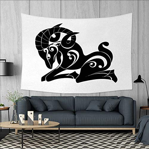 Price comparison product image Anniutwo Zodiac Aries Home Decorations for Living Room Bedroom Abstract Monochrome Goat Figure Swirled Horns and Floral Curly Details Wall Tapestry W80 x L60 (inch) Black and White