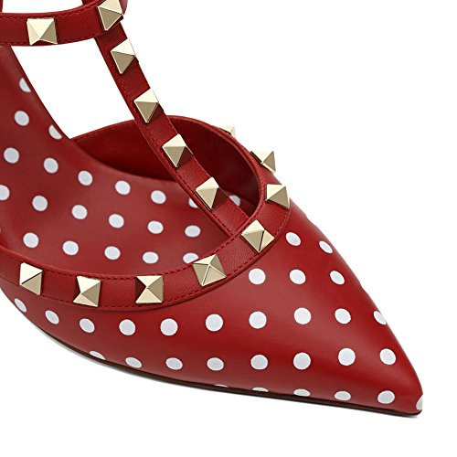 con Heel Studs Point Stud a Gold Red Chris Tacco Red Kitten Donne Costellato Strap White Vestito Pompe Sandalo Punta Punta T cinghiettiSandali TqYWqP