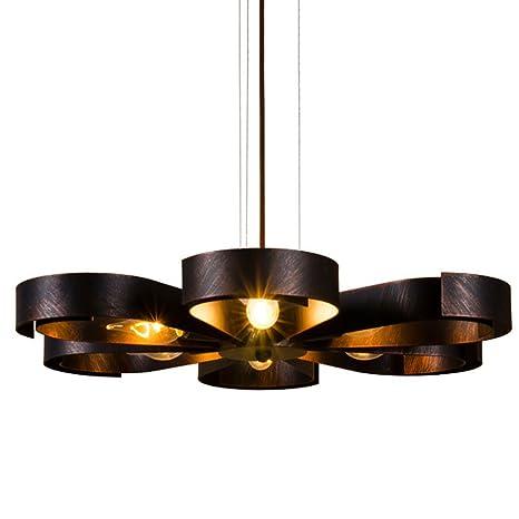 Retro lámpara colgante lámpara de techo Vintage Flores creativos plafón Hierro creativo iluminación decorativa para salón Loft Comedores Cafe cocina ...