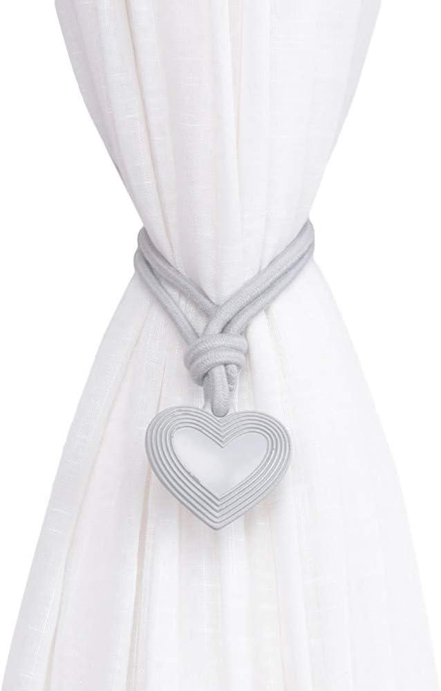 Lsgepavilion Lovely Heart Shape Window Curtain Tie Rope Tieback Holder Bedroom Home Decoration One Size Light Grey