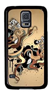 Abstract Color Twirls PC Case Cover for Samsung S5 and Samsung Galaxy S5 Black