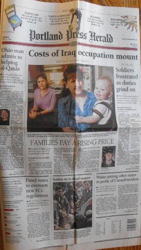 Portland Press Herald  Friday  June 20  2003  Volume 142  Number 1  Costs Of Irak Occupation Mount  In Irak Soldiers Frustrated As Duties Grind On  Ohio Man Admits To Helping Al   Qaida And Other Articles