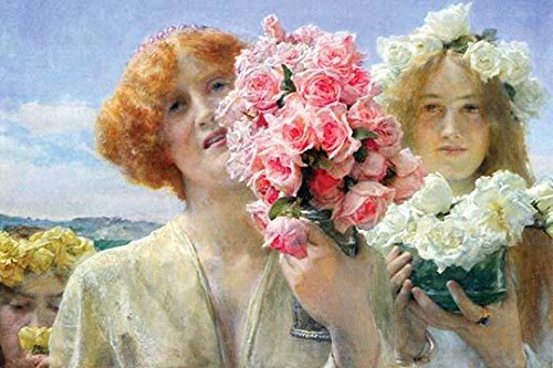 - Two Young Girls offer a nosegay of pink roses with one having roses in her hair - white Poster Print by Alma-Tadema (24 x 36)