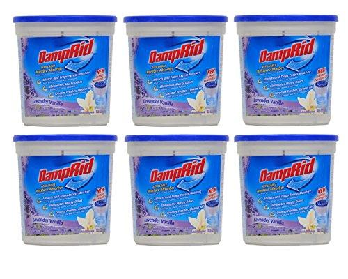 Damprid Moisture Absorber Lavender Vanilla, 10.5oz (Pack of 6), White (Damp Absorber Moisture Rid)
