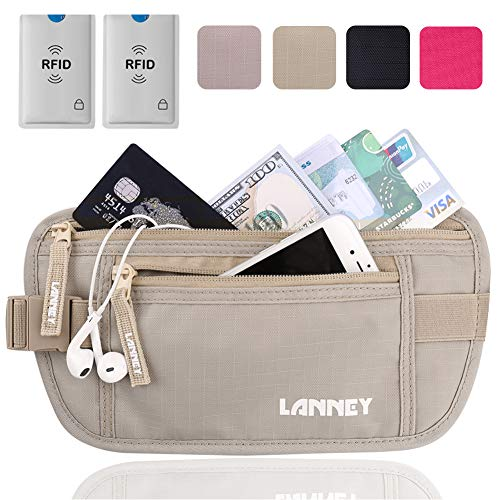 Travel Money Belt for Men Women, RFID Blocking Waist Wallet Hidden Antitheft Passport Holder Concealed Under Clothes Stash Pouch, Bonus 2 Credit Card Sleeves, Beige