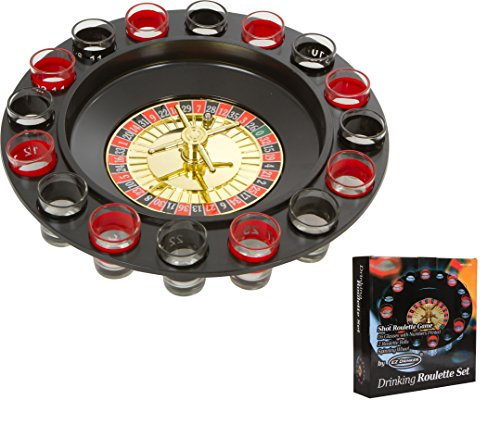 Shot Roulette Party Game by EZ Drinker.  Our Shot Roulette Games combine the fun of casinos and in home parties. Each set includes 16 glasses on a roulette wheel, with 2 metallic roulette balls.  Each set includes a 1 year warranty by the man...