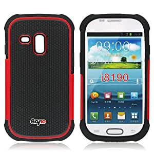 Bayke Brand / Samsung Galaxy S3 Mini (MINI ONLY) I8190 2-Piece Dual Layer Slim Armor High Impact 2in1 Armored Heavy Duty Rugged Matte Hard Protective Case Cover (without Built-in Screen Protector) (Red)