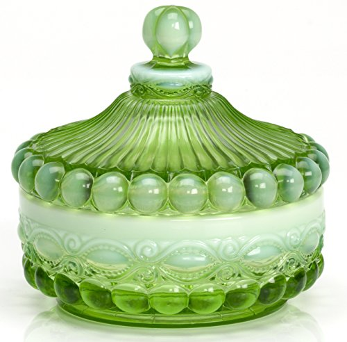 Covered Candy Dish - Eyewinker - Green Opalescent - Mosser USA