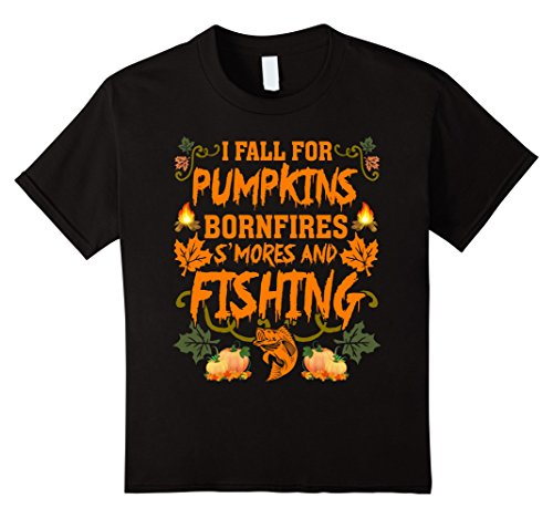 [Kids I Fall For Pumpkins Bonfires S'mores And Fishing T-Shirt 8 Black] (S'more Costume)