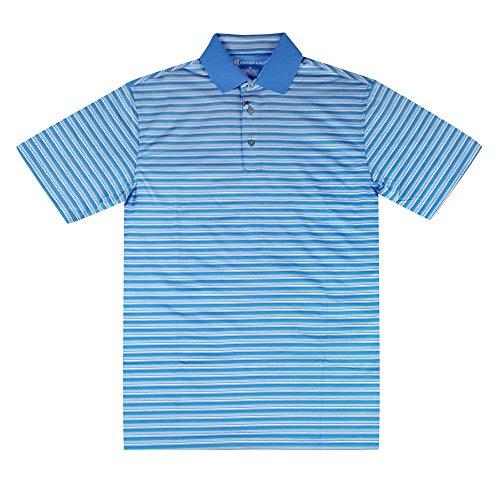 - Oxford Burgess Coolmax Multi Stripe Jersey Golf Polo 2017 French Blue X-Large