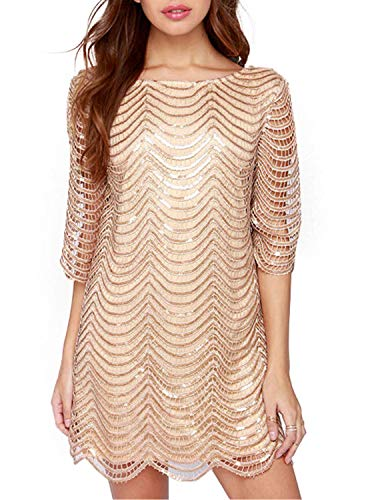 ASMAX HaoDuoYi Womens Sparkle Sequin Lace Hollow Out Half Sleeves Mini 1920's Party Dress Gold