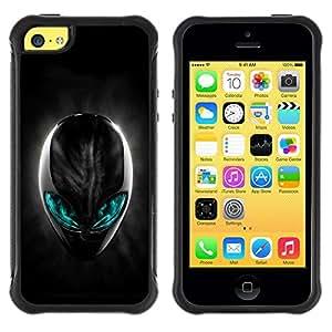 Fuerte Suave TPU GEL Caso Carcasa de Protección Funda para Apple Iphone 5C / Business Style Neon Glow Alien