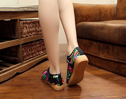 Zapatos de moda denim del tend¨®n c¨®modo zapatos ¨¦tnico dentro aumento tela lenguado del bordados femenina blue estilo xiuhuaxie GuiXinWeiHeng casual zwq7Ux5U