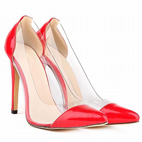 Fereshte Vrouwen Sexy Gesloten Teen Eenvoudige Snoep Kleur Stilettos Ol Pompen Rood