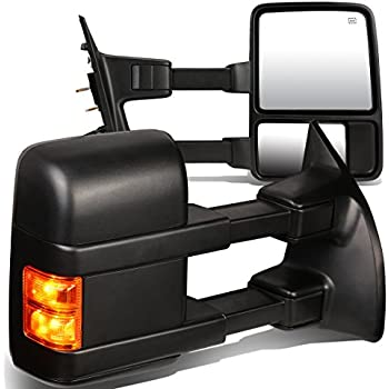 For Ford F Series Super Duty Pair Of Black Powered Heated Glass Signal Manual Extenable Side Towing Mirrors