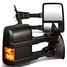 Ford Super Duty 2nd-3rd Gen Pair of Power+Heated+Turn Signal Light Manual Folding Towing Side Mirror (Black)