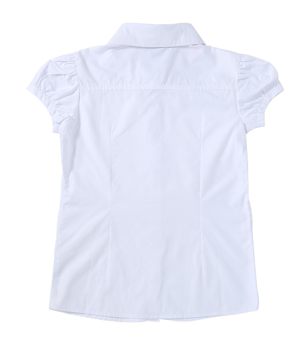 Bienzoe Big Girl's School Uniforms Oxford Short Puff Sleeve Blouse White S by Bienzoe (Image #2)