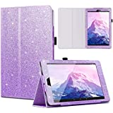 Casewind All-New Amazon Fire HD 10 Case Glitter Premium PU Leather Slim Folding Stand Cover with Auto Wake/Sleep Smart Protective Case for Fire HD 10.1 inch Tablet (7th Gen, 2017 Release), Purple