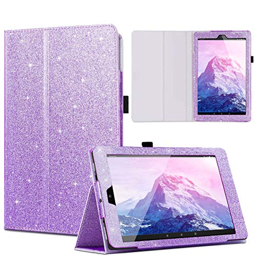 Casewind All-New Amazon Fire HD 10 Case Glitter Premium PU Leather Slim Folding Stand Cover with Auto Wake/Sleep Smart Protective Case for Fire HD 10.1 inch Tablet (7th Gen, 2017 Release), Purple ()