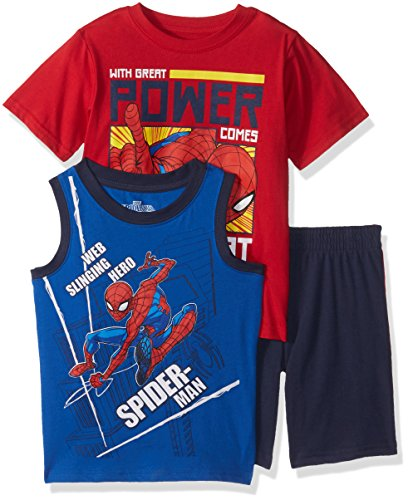 Marvel Boys' Toddler Spiderman 3 Piece Short Set, red, 3T