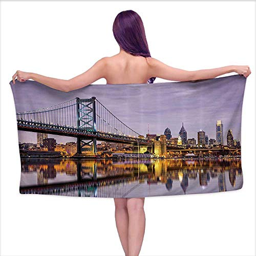 (Glifporia Bath Towels Set Apartment Decor Collection,Ben Franklin Bridge and Philadelphia Skyline Under Sunsets Reflections on Water Image,Gray Ivory,W12 xL35 for Men red)