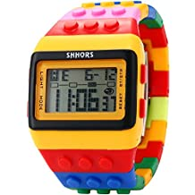 SHHORS LCD Digital Alarm Lady Men Block Constructor Stopwatch Sport Rubber Watch LED091