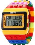 AMPM24 LCD Digital Alarm Lady Men Block Constructor Stopwatch Sport Rubber Watch LED091