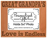 A perfect birthday gift or Father's Day gift for Grandpa. This beautifully engraved picture frame makes a stunning gift for any occasion. Frame includes a glass front and can be hung or stood with built in easel and hook. Frame is designed and engrav...