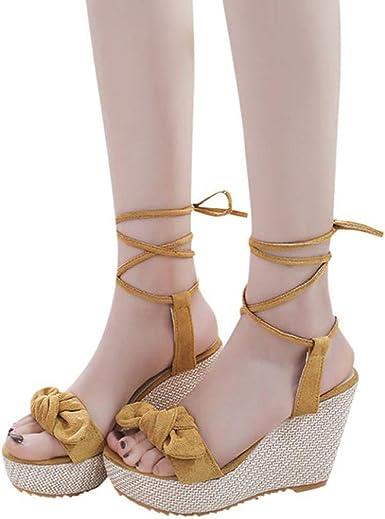 Women Jute-Rope Dress Wedge-High Sandals Summer flip flops