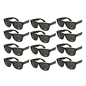 Edge I-Wear 12 Pack ADULT Party Neon Sunglasses CPSIA Certified Lead (Pb) Content Free UV Protection (Made in Taiwan) 5402R/BLK-12