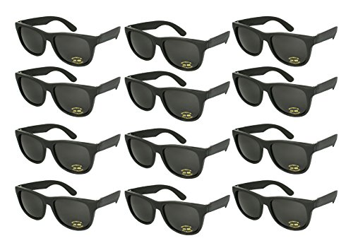 Edge I-Wear 12 Pack 80's Style Adult Neon Party Sunglasses Bridal Wedding Party Favors 5402R/BLK-12 ()