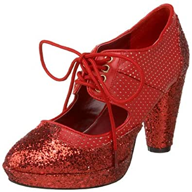 Bordello by Pleaser Women's Grind-03 Oxford,Red Glitter,8 M US