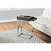 Monarch Accent Table with a Drawer, Glossy Grey