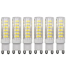 Dayker 7W G9 LED Corn Bi Pin JD Type Lamp Bulb Caremic 360 Degree 75xSMD2835 Warm White LED Interior Cabinet Lighting Replace for 60W Halogen(6 Pack)
