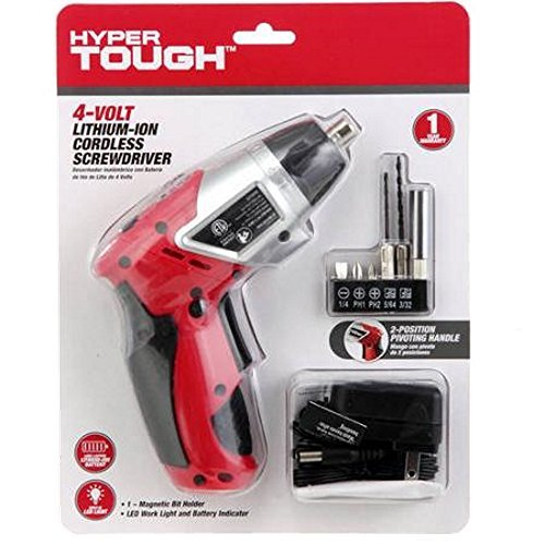 4 Volt Lithium-ion Cordless Screwdriver with Built-in LED Work Light By Hyper Tough