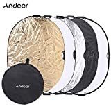 "Andoer 36""x48"" / 90x120cm 5in1 Round Collapasible Multi-Disc Portable Photo Photo Studio Video Lighting Reflector/Diffuser with Grip and Carrying Case cover image"